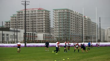 England's rugby squad trained at the Arcs Urayasu Park in Tokyo on Tuesday