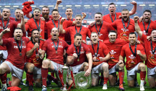 Wales players celebrate winning the 2019 Six Nations, grand slam and triple crown