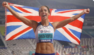 Katarina Johnson-Thompson celebrates winning the heptathlon gold medal at the World Athletics Championships in Doha