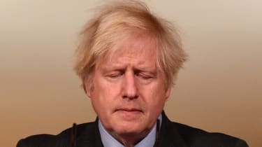 Boris Johnson speaks during a virtual press conference.