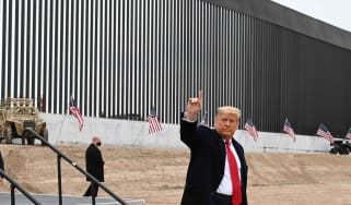 Donald Trump tours a section of the border wall in Alamo, Texas.