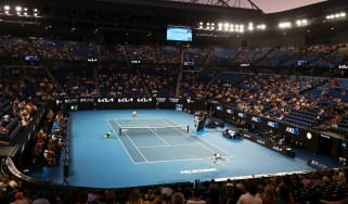 Novak Djokovic faces Aslan Karatsev in the semi-final of the Australian Open at Melbourne Park