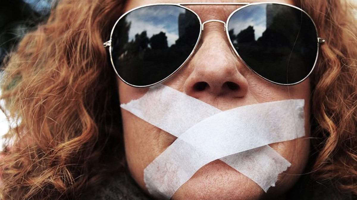 Image result for images of gagging free speech