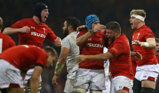 Wales players celebrate their 2019 Six Nations victory over England in Cardiff