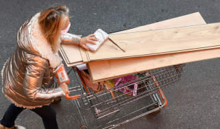 Woman buys materials