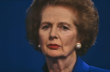 Prime Minster Margaret Thatcher is seen giving a party speech at the 1990 Conservative Party Conference in Blackpool, Lancashire, a full year after being removed by her own colleagues the pre