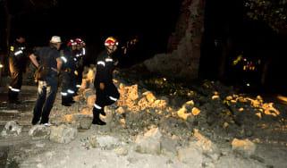 firefighters rubble