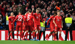 Bayern Munich players celebrate their opening goal against Chelsea at Stamford Bridge