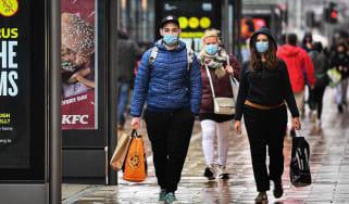 Shoppers wear masks on Princess Street, Edinburgh