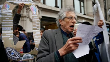 Piers Corbyn at a demonstration