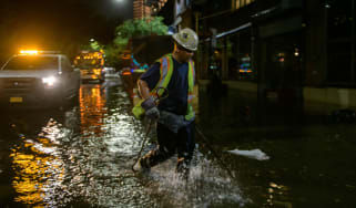 Flooded street in Brooklyn, New York
