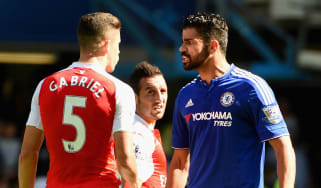 Gabriel Paulista of Arsenal, Diego Costa of Chelsea