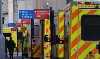 An ambulance queue outside of a hospital