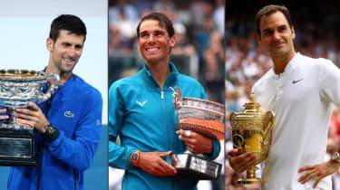 Novak Djokovic has 17 grand slam titles, Rafael Nadal has 19 and Roger Federer has 20