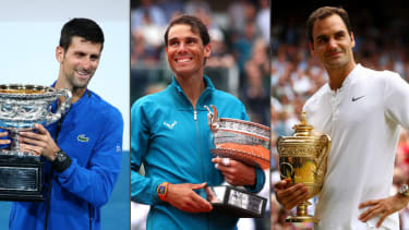 Novak Djokovic has 17 grand slam titles, Rafael Nadal has 19 and Roger Federer has 20