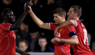 Steven Gerrard celebrates with Liverpool team mates