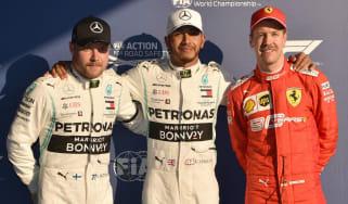 Lewis Hamilton secured pole position with team-mate Valtteri Bottas in second and Ferrari's Sebastian Vettel in third