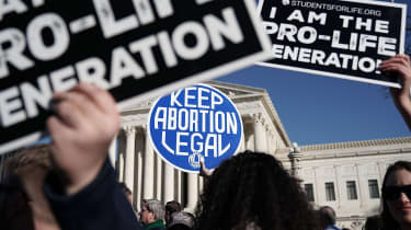 Abortion activists demonstrating outside the Supreme Court in 2018