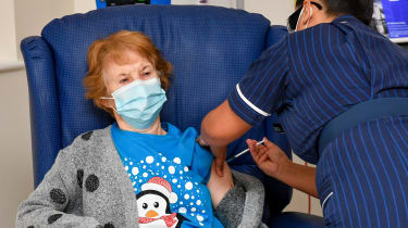 Margaret Keenan becomes the first patient in the UK to receive the Pfizer/BioNtech vaccine