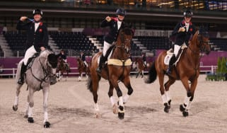 Oliver Townend, Laura Collett and Tom McEwen with their eventing gold medals