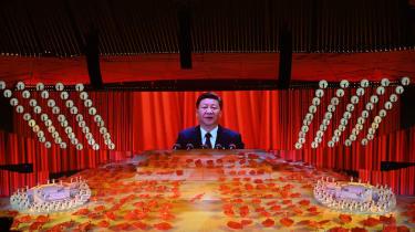 Xi Jinping on a screen