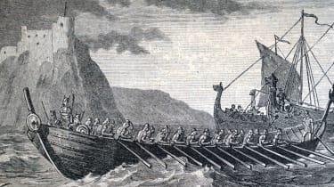 A modern interpretation of Danish ships preparing to make landfall in England