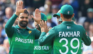 Mohammad Hafeez (left) starred for Pakistan in their Cricket World Cup win against England
