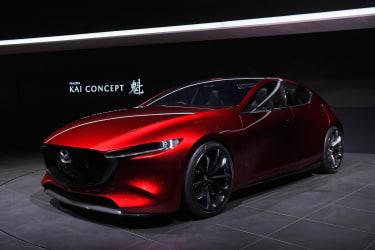 TOKYO, JAPAN - OCTOBER 25:Mazda Kai Concept is displayed at the Mazda Motor Co booth during the Tokyo Motor Show at Tokyo Big Sight on October 25, 2017 in Tokyo, Japan.(Photo by Koki Nagahama