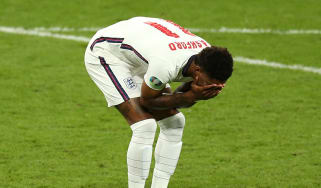 Marcus Rashford after missing penalty in the England v. Italy Euro 2020 final