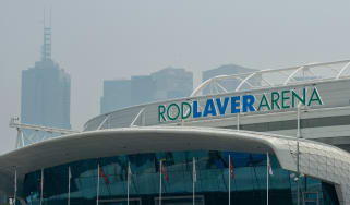 Smoke from the Australian bush fires hangs over the Rod Laver Arena in Melbourne Australian Open