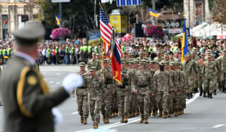 US soldiers march during a military parade in Kiev