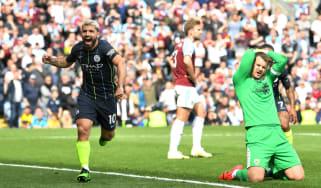 Man City striker Sergio Aguero celebrates his winning goal against Burnley at Turf Moor