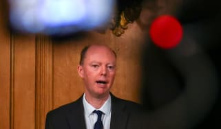 Chief Medical Officer Professor Chris Whitty speaks during a news conference at 10 Downing Street.