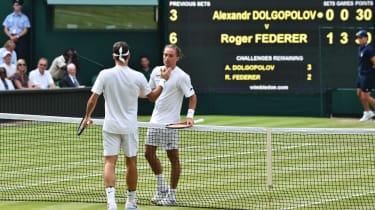 Alexandr Dolgopolov and Roger Federer at Wimbledon