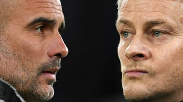 Manchester City manager Pep Guardiola and Manchester United boss Ole Gunnar Solskjaer