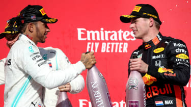 Mercedes driver Lewis Hamilton and Red Bull's Max Verstappen