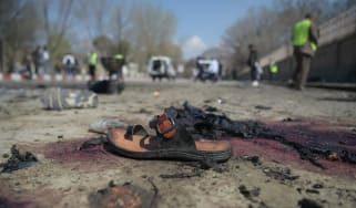 A photo of the aftermath of a suicide bomb in Kabul last month taken by AFP's Shah Marai who died on Monday