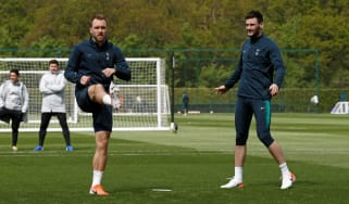 Tottenham Hotspur midfielder Christian Eriksen and goalkeeper Hugo Lloris