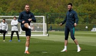 Tottenham Hotspur midfielder Christian Eriksen and goalkeeper Hugo Lloris