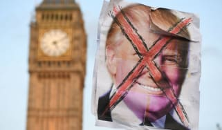 An anti-Trump protest outside Parliament last year
