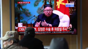 Kim Jong-un addresses a meeting of the Politburo.