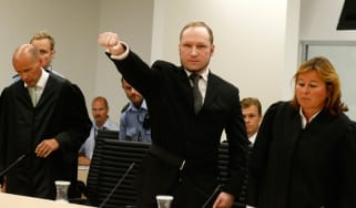Self-confessed mass murderer Anders Behring Breivik raises his fist in a right-wing salute