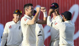 England bowler James Anderson celebrates a West Indies wicket in the Barbados Test