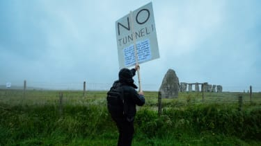 Man protesting the proposed Stonehenge tunnel