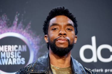 LOS ANGELES, CALIFORNIA - NOVEMBER 24: Chadwick Boseman poses in the press room during the 2019 American Music Awards at Microsoft Theater on November 24, 2019 in Los Angeles, California. (Ph