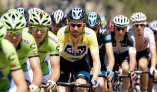 Bradley Wiggins wearing Yellow in the Amgen Tour of California 2014