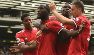 Belgium striker Romelu Lukaku celebrates scoring a goal for Manchester United