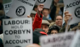 Anti-semitism protesters outside Labour HQ in April
