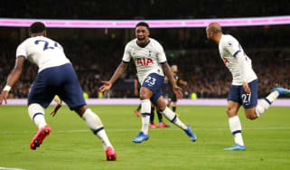 Tottenham's Steven Bergwijn celebrates scoring on his debut against Man City