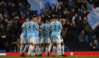 Man City players celebrate Gabriel Jesus' goal against Schalke 04 at the Etihad Stadium